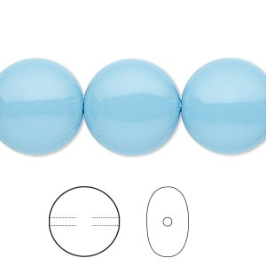 pearl, swarovski crystal gemcolors, turquoise, 16mm coin (5860). sold per pkg of 25.