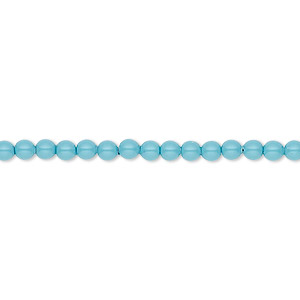 pearl, swarovski crystal gemcolors, turquoise, 3mm round (5810). sold per pkg of 1,000.