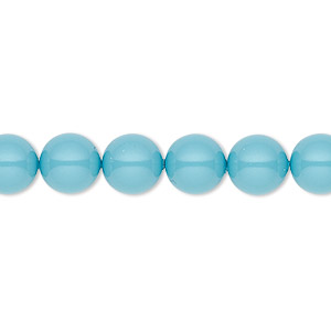 pearl, swarovski crystal gemcolors, turquoise, 8mm round (5810). sold per pkg of 50.