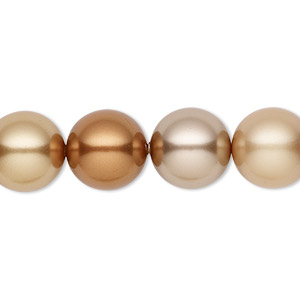 pearl, swarovski crystals, autumn, 12mm round (5810). sold per pkg of 10.