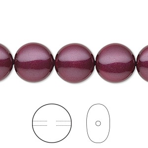 pearl, swarovski crystals, blackberry, 12mm coin (5860). sold per pkg of 10.