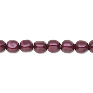 pearl, swarovski crystals, blackberry, 6mm baroque (5840). sold per pkg of 10.