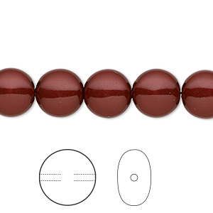 pearl, swarovski crystals, bordeaux, 10mm coin (5860). sold per pkg of 100.