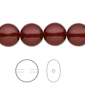 pearl, swarovski crystals, bordeaux, 12mm coin (5860). sold per pkg of 10.