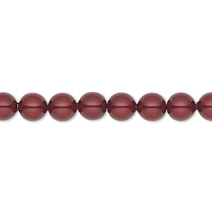 pearl, swarovski crystals, bordeaux, 6mm round (5810). sold per pkg of 500.