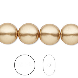 pearl, swarovski crystals, bright gold, 12mm coin (5860). sold per pkg of 100.
