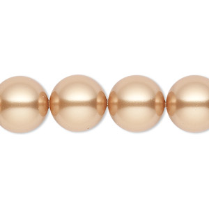 pearl, swarovski crystals, bright gold, 12mm round (5810). sold per pkg of 10.