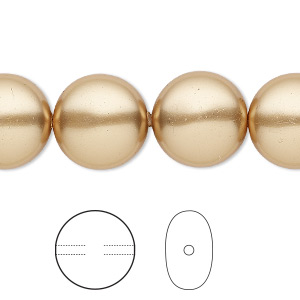 pearl, swarovski crystals, bright gold, 14mm coin (5860). sold per pkg of 10.