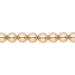 pearl, swarovski crystals, bright gold, 6mm round (5810). sold per pkg of 50.