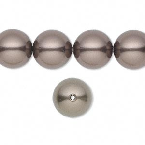pearl, swarovski crystals, brown, 12mm round with 1.3-1.5mm hole (5811). sold per pkg of 100.