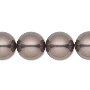 pearl, swarovski crystals, brown, 14mm round with 1.3-1.5mm hole (5811). sold per pkg of 10.