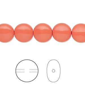 pearl, swarovski crystals, coral, 10mm coin (5860). sold per pkg of 100.