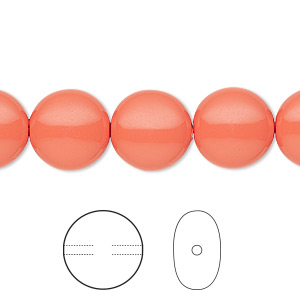 pearl, swarovski crystals, coral, 12mm coin (5860). sold per pkg of 100.