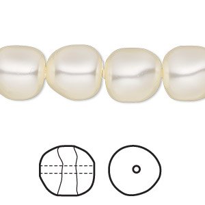 pearl, swarovski crystals, cream, 12mm baroque (5840). sold per pkg of 10.