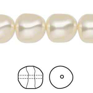 pearl, swarovski crystals, cream, 14mm baroque (5840). sold per pkg of 10.