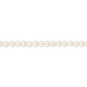pearl, swarovski crystals, cream, 3mm round (5810). sold per pkg of 1,000.