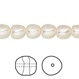 pearl, swarovski crystals, cream, 8mm baroque (5840). sold per pkg of 10.