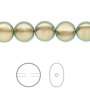 pearl, swarovski crystals, crystal iridescent green, 10mm coin (5860). sold per pkg of 100.
