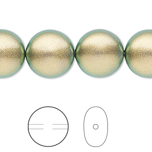 pearl, swarovski crystals, crystal iridescent green, 14mm coin (5860). sold per pkg of 50.