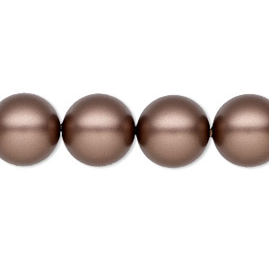 pearl, swarovski crystals, crystal passions, velvet brown, 12mm round (5810). sold per pkg of 10.