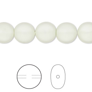 pearl, swarovski crystals, crystal pastel green, 10mm coin (5860). sold per pkg of 10.