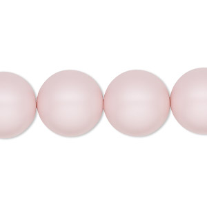 pearl, swarovski crystals, crystal pastel rose, 14mm round with 1.3-1.5mm hole (5811). sold per pkg of 10.