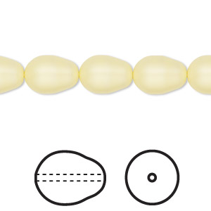 pearl, swarovski crystals, crystal pastel yellow, 11x8mm pear (5821). sold per pkg of 10.