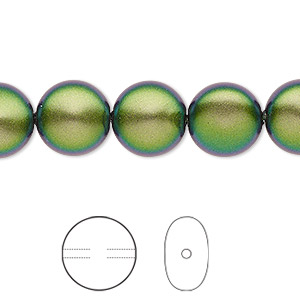 pearl, swarovski crystals, crystal scarabaeus green, 12mm coin (5860). sold per pkg of 100.