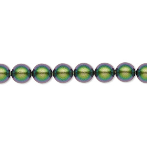 pearl, swarovski crystals, crystal scarabaeus green, 6mm round (5810). sold per pkg of 500.