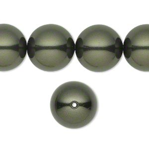 pearl, swarovski crystals, dark green, 14mm round with 1.3-1.5mm hole (5811). sold per pkg of 10.