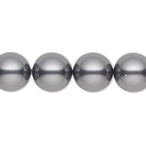 pearl, swarovski crystals, dark grey, 12mm round (5810). sold per pkg of 100.