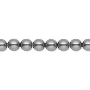 pearl, swarovski crystals, dark grey, 6mm round (5810). sold per pkg of 500.