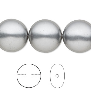 pearl, swarovski crystals, grey, 16mm coin (5860). sold per pkg of 5.