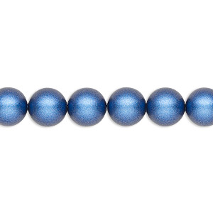 pearl, swarovski crystals, iridescent dark blue pearl, 8mm round (5810). sold per pkg of 50.