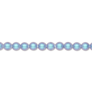 pearl, swarovski crystals, iridescent light blue pearl, 4mm round (5810). sold per pkg of 500.