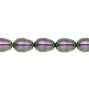 pearl, swarovski crystals, iridescent purple, 11x8mm pear (5821). sold per pkg of 10.