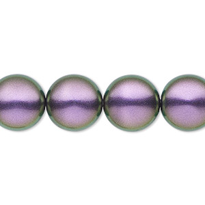 pearl, swarovski crystals, iridescent purple, 14mm coin (5860). sold per pkg of 50.