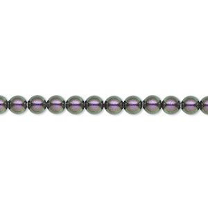 pearl, swarovski crystals, iridescent purple, 4mm round (5810). sold per pkg of 100.