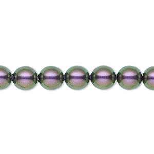 pearl, swarovski crystals, iridescent purple, 8mm round (5810). sold per pkg of 50.
