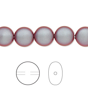 pearl, swarovski crystals, iridescent red, 10mm coin (5860). sold per pkg of 10.