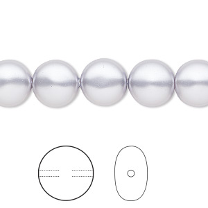 pearl, swarovski crystals, lavender, 10mm coin (5860). sold per pkg of 100.