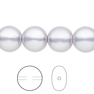 pearl, swarovski crystals, lavender, 12mm coin (5860). sold per pkg of 100.