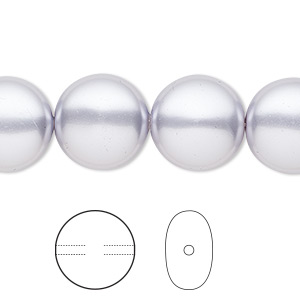 pearl, swarovski crystals, lavender, 14mm coin (5860). sold per pkg of 10.