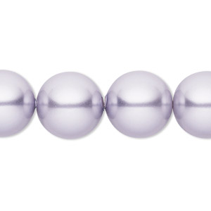 pearl, swarovski crystals, lavender, 14mm round with 1.3-1.5mm hole (5811). sold per pkg of 10.