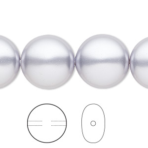pearl, swarovski crystals, lavender, 16mm coin (5860). sold per pkg of 25.