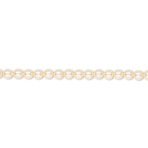 pearl, swarovski crystals, light gold, 3mm round (5810). sold per pkg of 100.