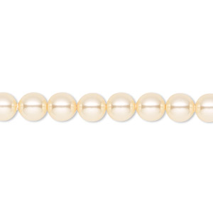 pearl, swarovski crystals, light gold, 6mm round (5810). sold per pkg of 50.
