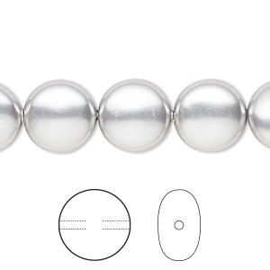 pearl, swarovski crystals, light grey, 12mm coin (5860). sold per pkg of 100.