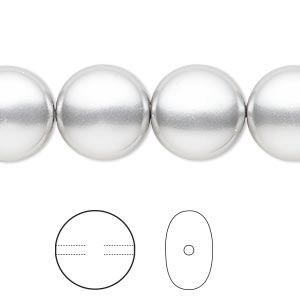 pearl, swarovski crystals, light grey, 14mm coin (5860). sold per pkg of 10.