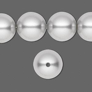 pearl, swarovski crystals, light grey, 14mm round with 1.3-1.5mm hole (5811). sold per pkg of 50.
